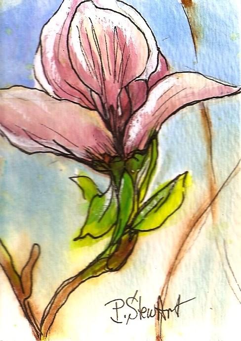 """ACEO Magnolia Blossom Illustration Watercolor Pen Original SFA Penny StewArt"" original fine art by Penny Lee StewArt"