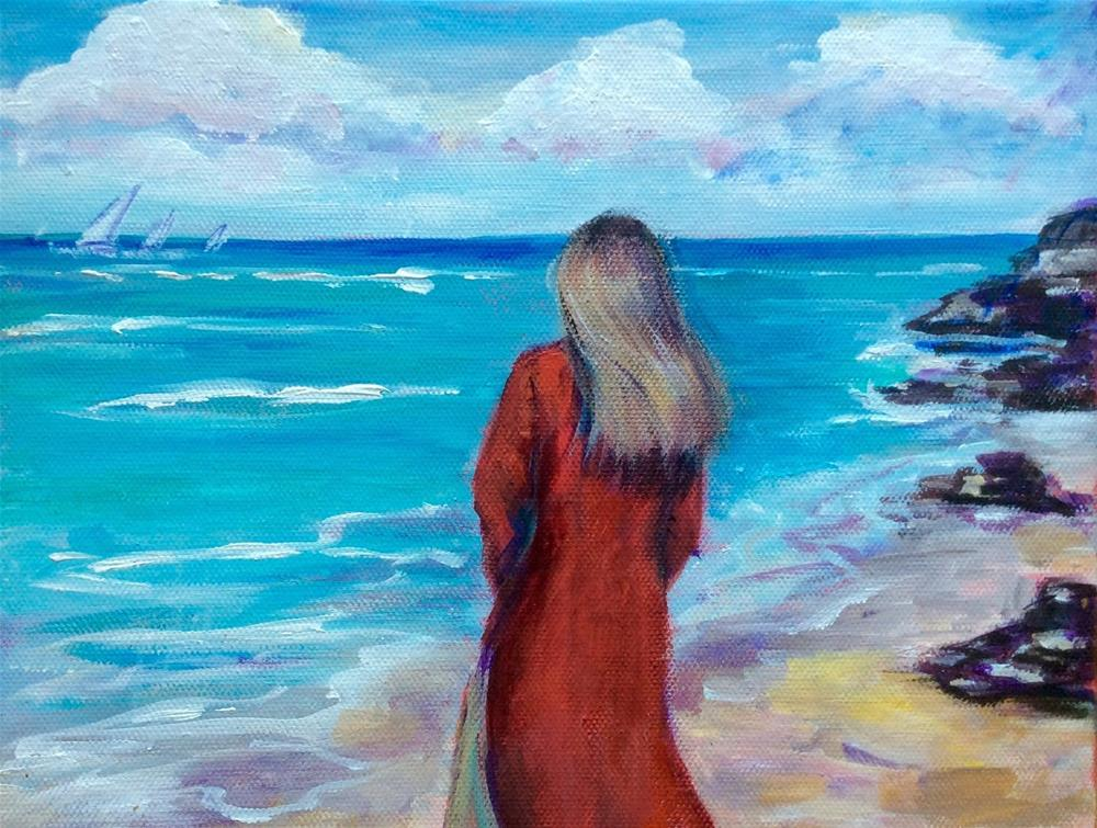 """""""Woman in red by the seaside painting"""" original fine art by Sonia von Walter"""