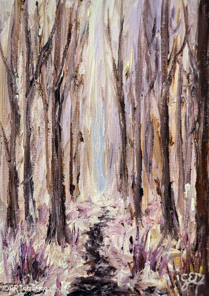 """SALE!!! Wintertime In Fontaine Woods"" original fine art by Gloria Ester"