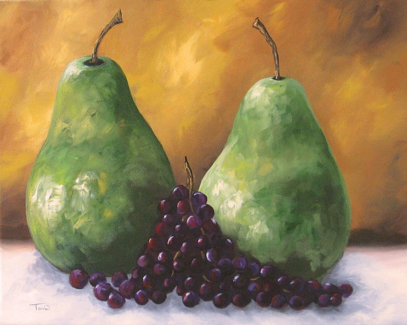 """""""Pears and Grapes II"""" original fine art by Torrie Smiley"""