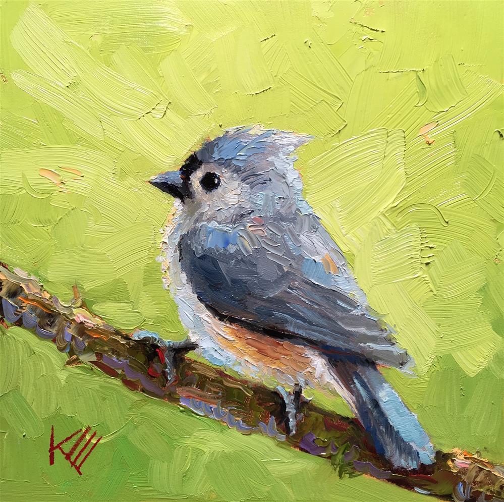"""Blue Titmouse on Lime"" original fine art by Krista Eaton"