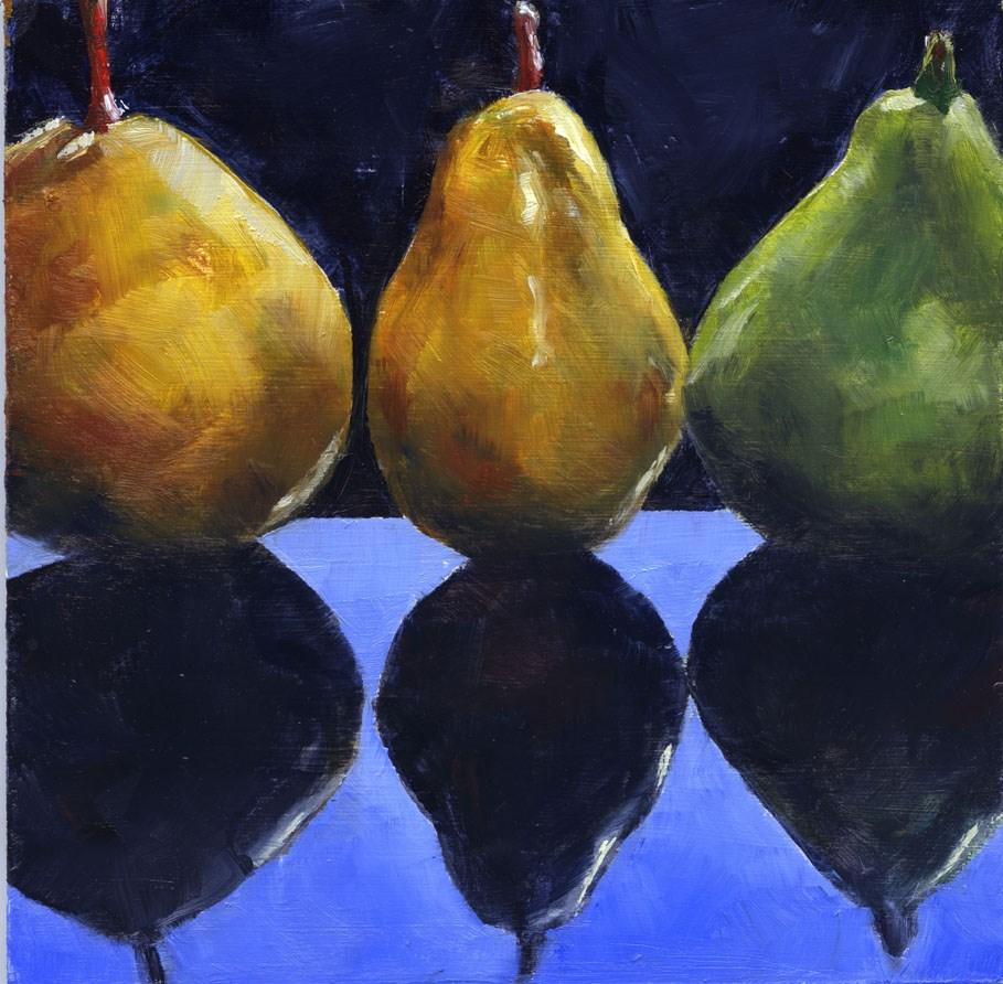 """""""Three Pears"""" original fine art by Eileen Hennemann"""