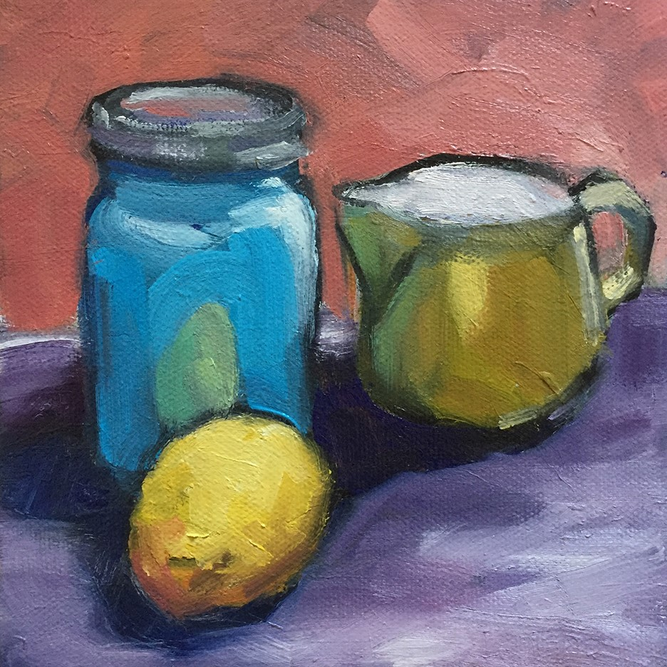 """Blue and Yellow Things"" original fine art by Lisa Sotero"