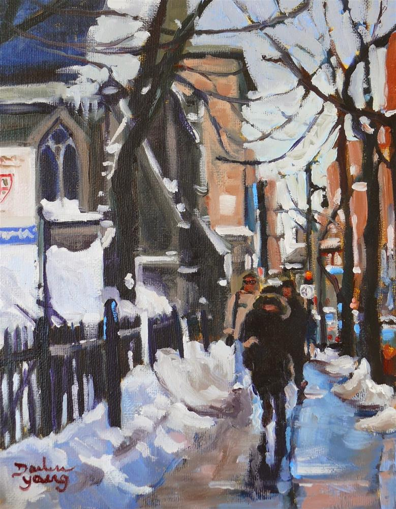 """""""833 Montreal Winter Ste-Catherine, oil, 8x10"""" original fine art by Darlene Young"""