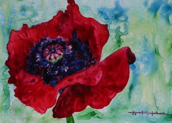 """Rainy Day Poppy"" original fine art by Jana Johnson"