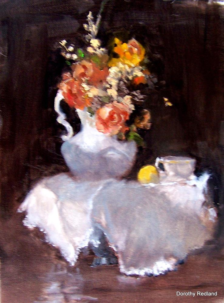 """""""Teapot with roses"""" original fine art by Dorothy Redland"""