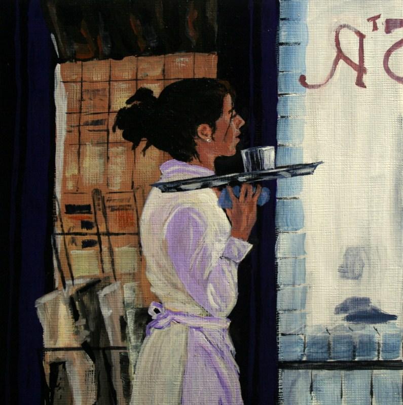 """French Waitress"" original fine art by Jean Nelson"