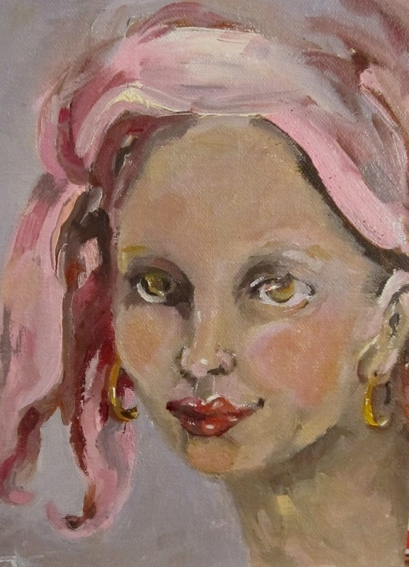 """I Wear Pink"" original fine art by Delilah Smith"