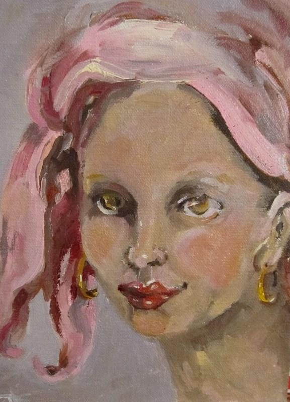 """I Wear Pink"" original fine art by Delilah Smith"
