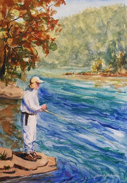 """Fishing at North South Lake IV"" original fine art by Jamie Williams Grossman"