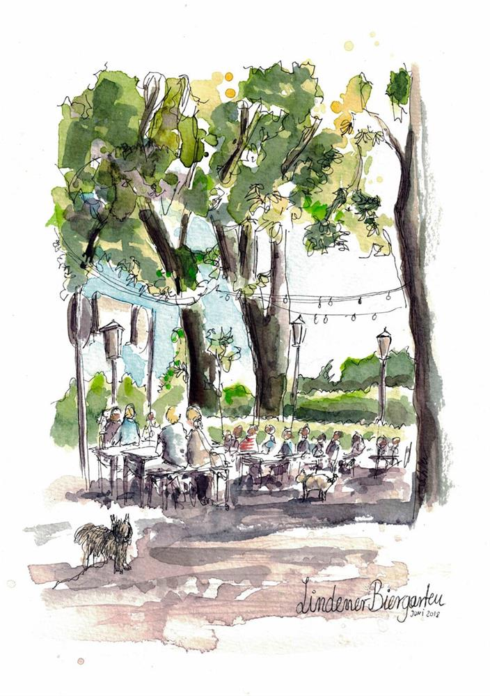 """2485 Linden Beer Garden"" original fine art by Dietmar Stiller"