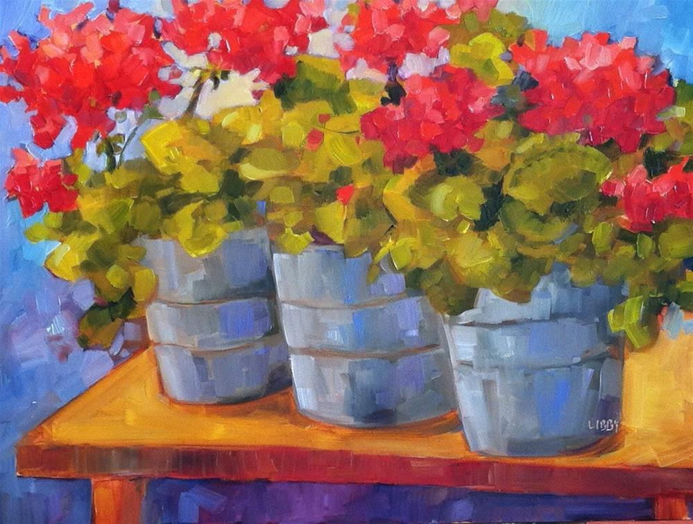"""""""Three on a Bench"""" original fine art by Libby Anderson"""