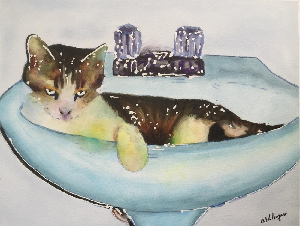 """""""Pancho The Cat"""" original fine art by Juan Velasquez"""