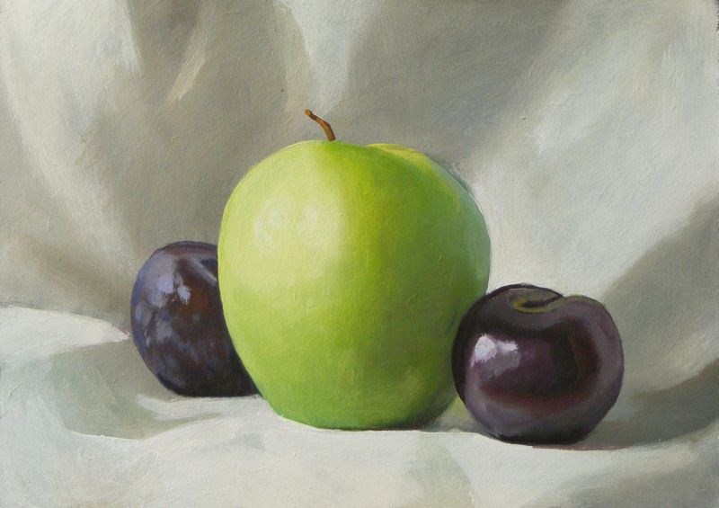 """Apple and plums"" original fine art by Peter Orrock"