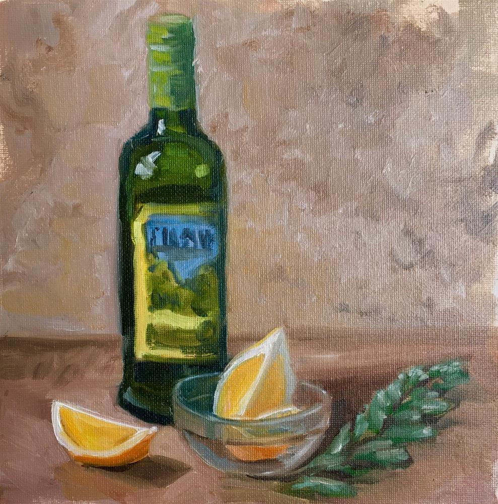 """Olive Oil and Lemon"" original fine art by Linda Marino"