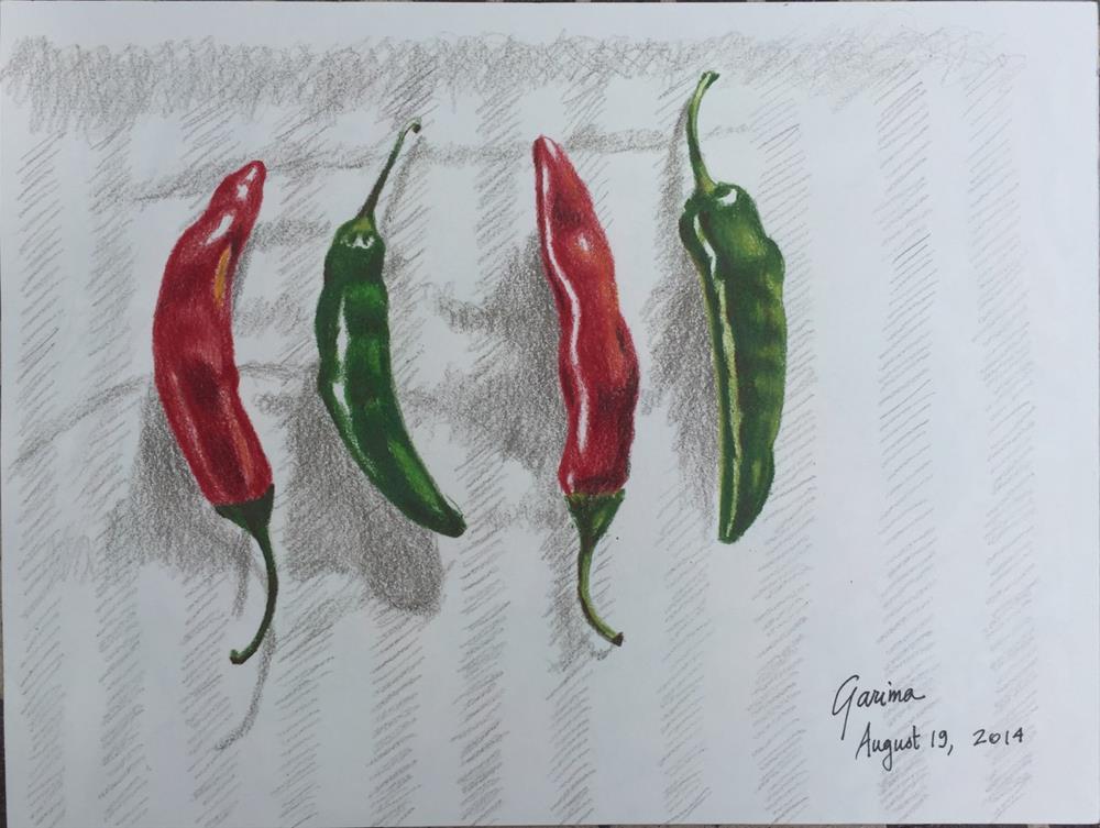 """Four Hot Peppers"" original fine art by Garima Heath"