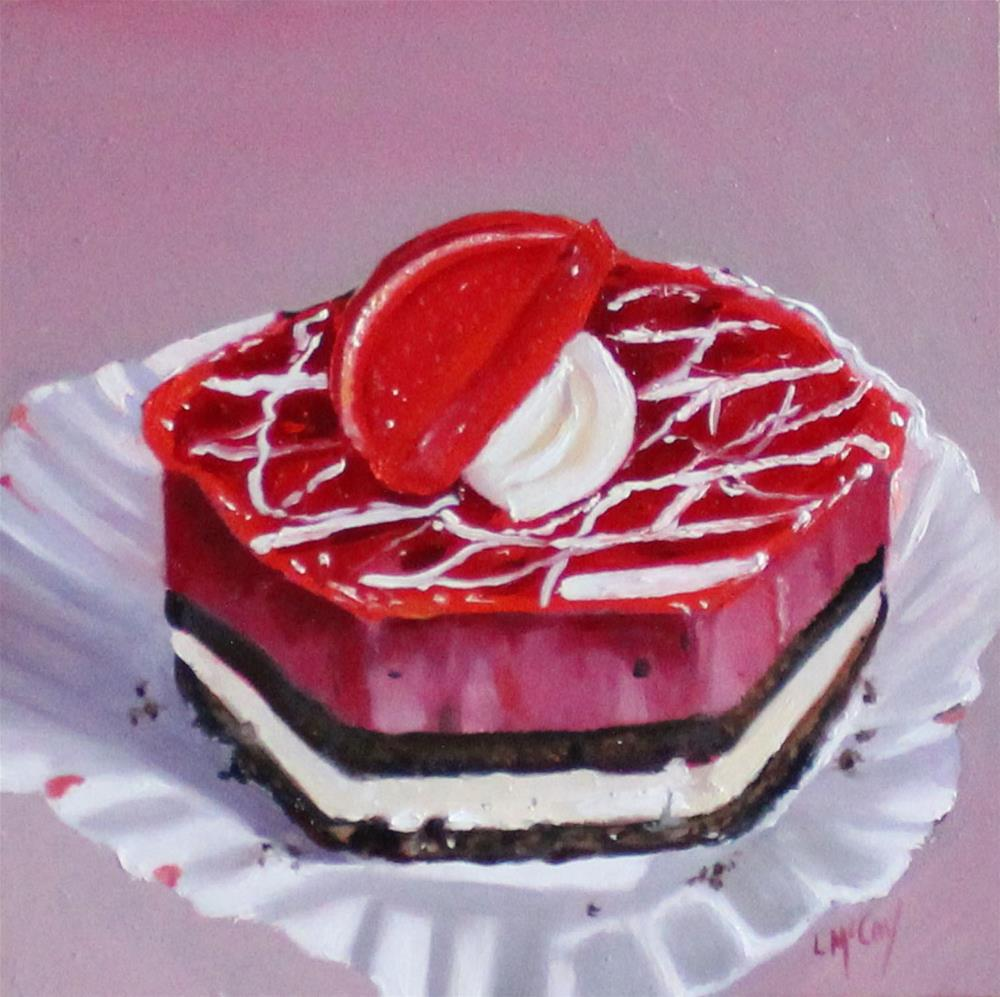 """Raspberry Cheesecake, Oil Painting"" original fine art by Linda McCoy"