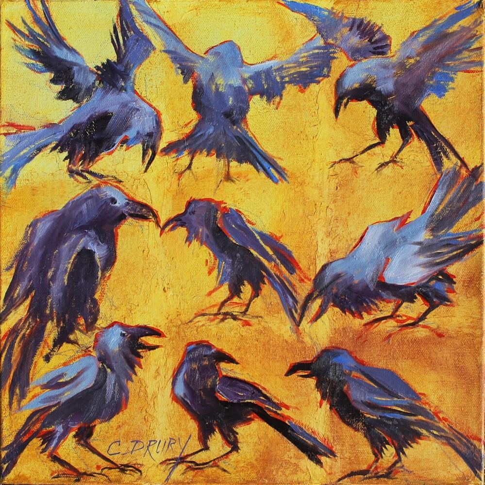 """""""Ravens Take Flight"""" original fine art by Colleen Drury"""