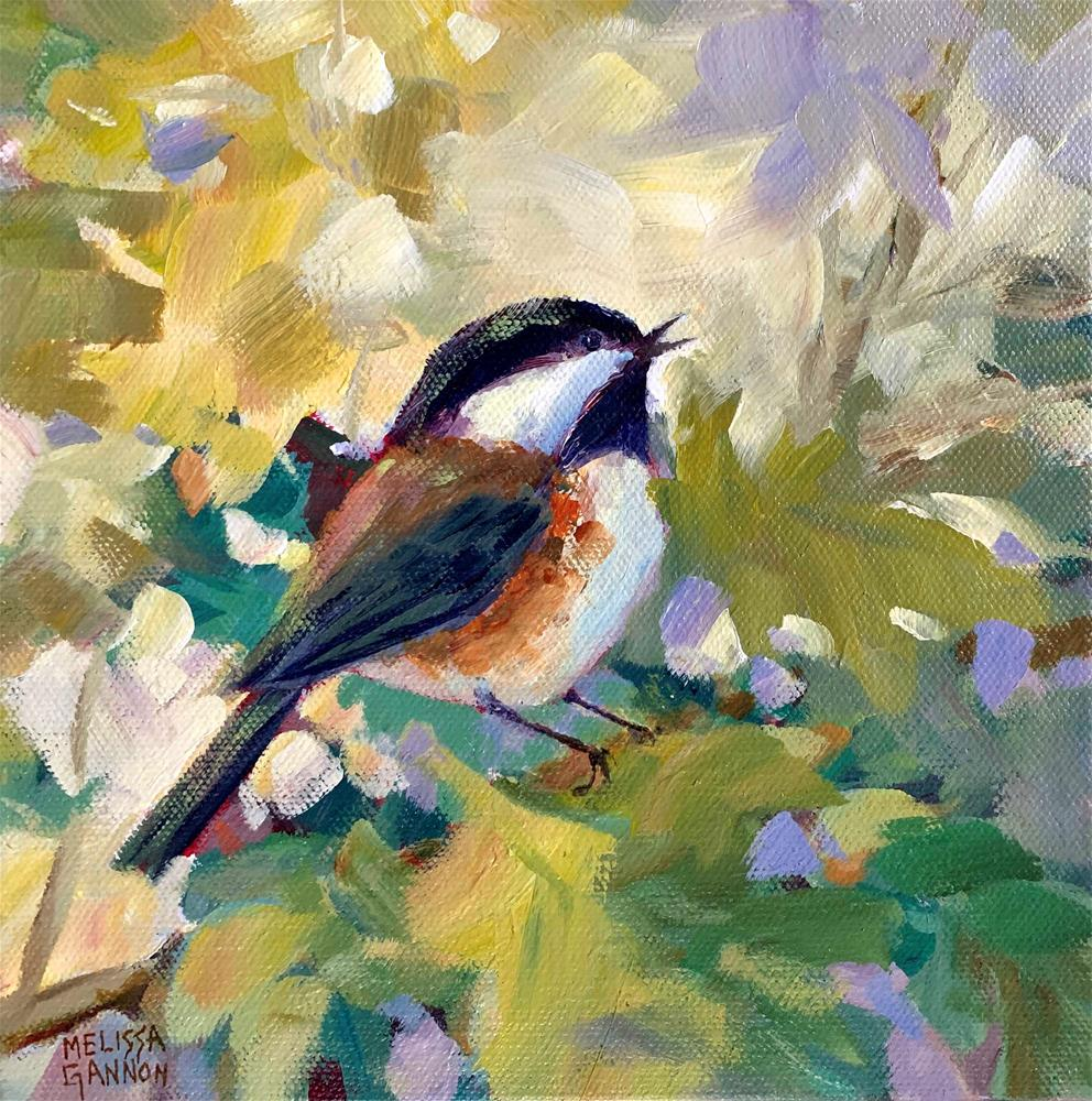 """Chickadee Song"" original fine art by Melissa Gannon"