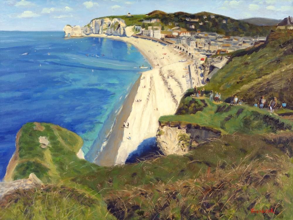 """Cliffs of Etretat France II"" original fine art by Daniel Fishback"