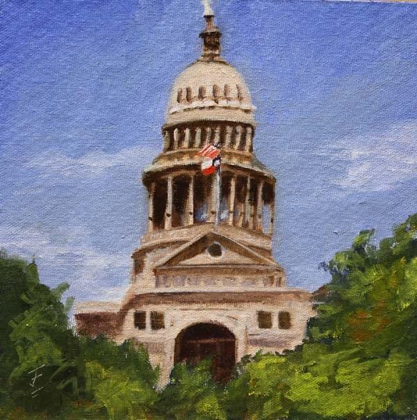 """Texas Capitol"" original fine art by Jane Frederick"