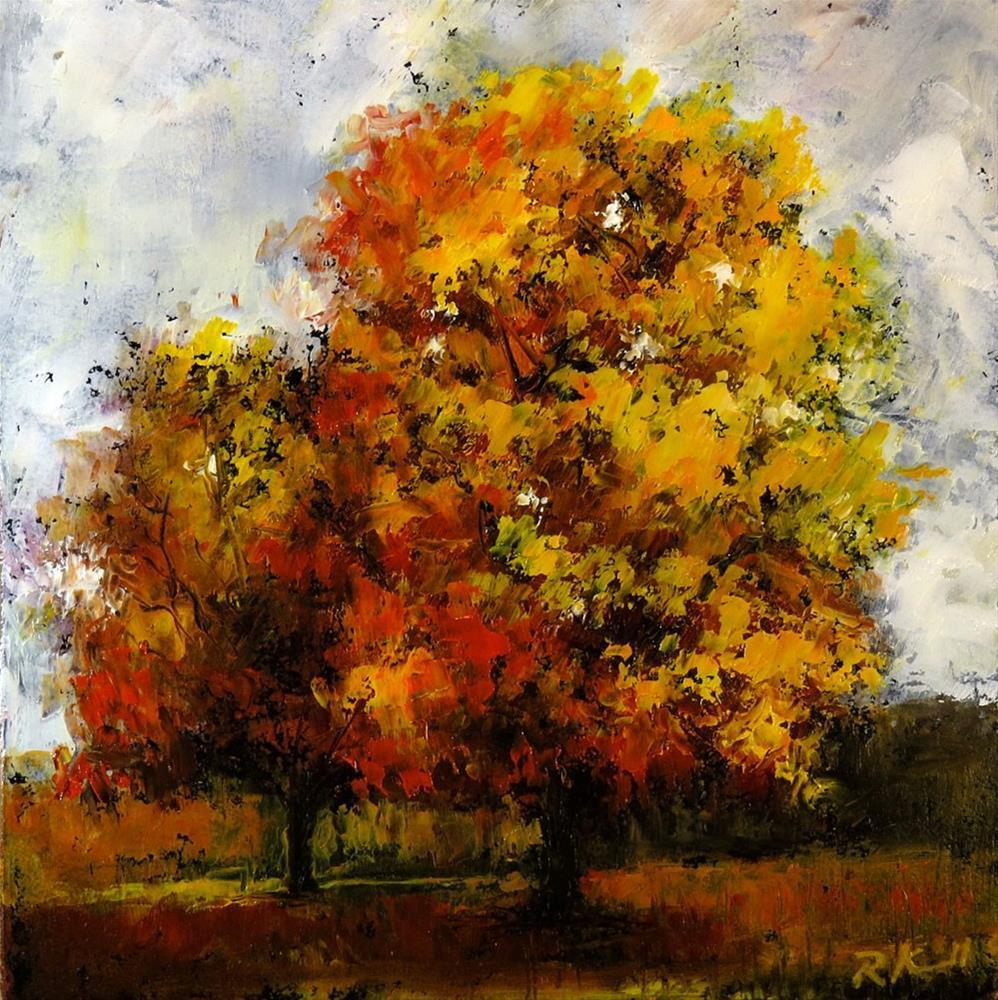 """Two Autumn Trees"" original fine art by Bob Kimball"
