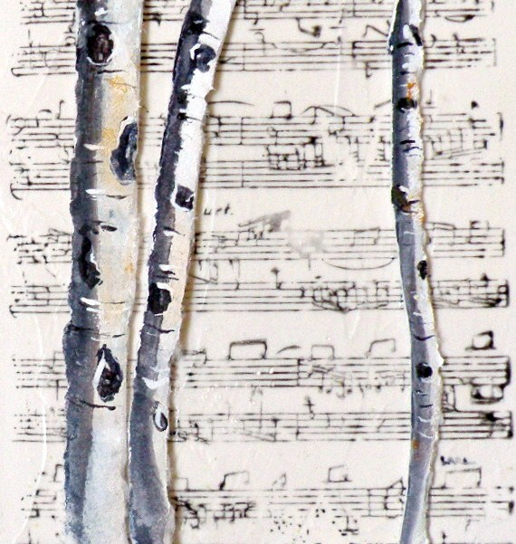 """""""ASPEN MELODY ORIGINAL PAPER CAST PAINTING OF ASPEN © SAUNDRA LANE GALLOWAY and NEW GALLERY"""" original fine art by Saundra Lane Galloway"""