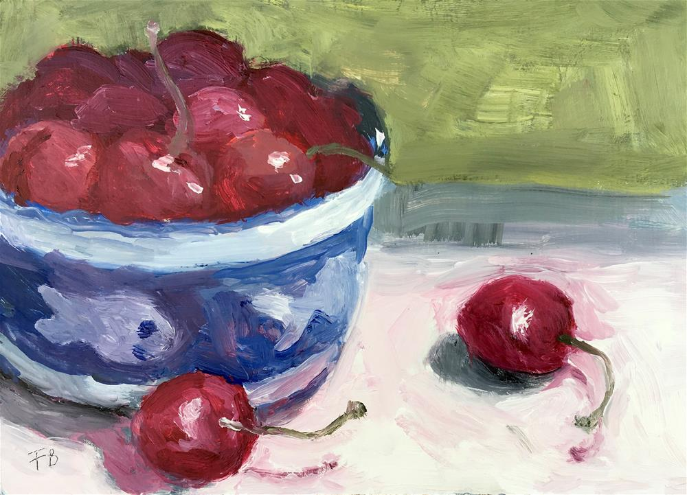 """045 Cherries, daily painting ritual, 5x7"" original fine art by Fred Bell"
