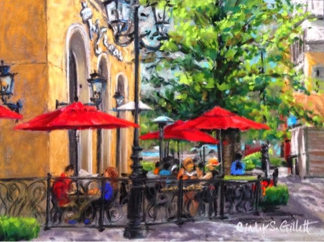"""The Village at Meridian - Dining at Twigs"" original fine art by Cindy Gillett"