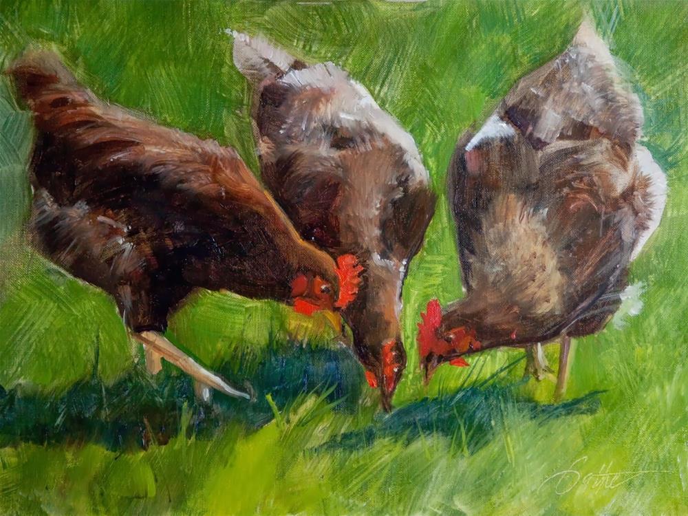 """Hen Party by Beth Bathe"" original fine art by Beth Bathe"