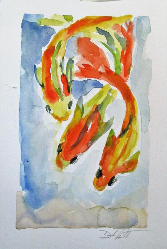"""Three Koi"" original fine art by Delilah Smith"