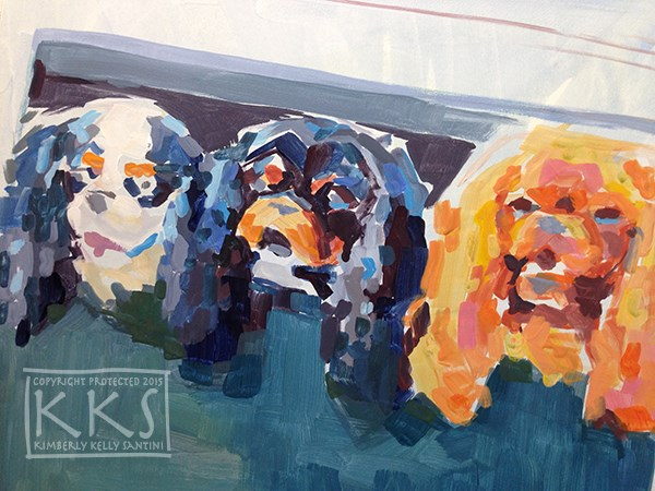 """""""In Process Detail, Family Outing"""" original fine art by Kimberly Santini"""
