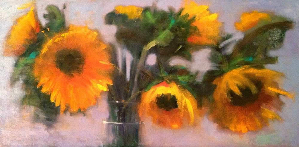"""The Sentiment of Sunflowers 24x12"" original fine art by Ann Feldman"