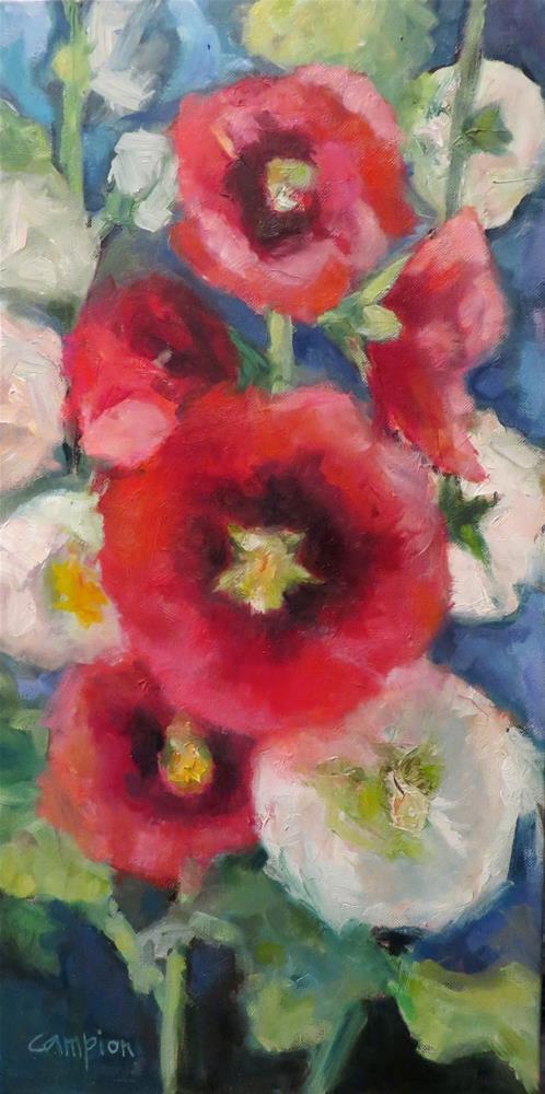 """Red and White Hollyhocks"" original fine art by Diane Campion"