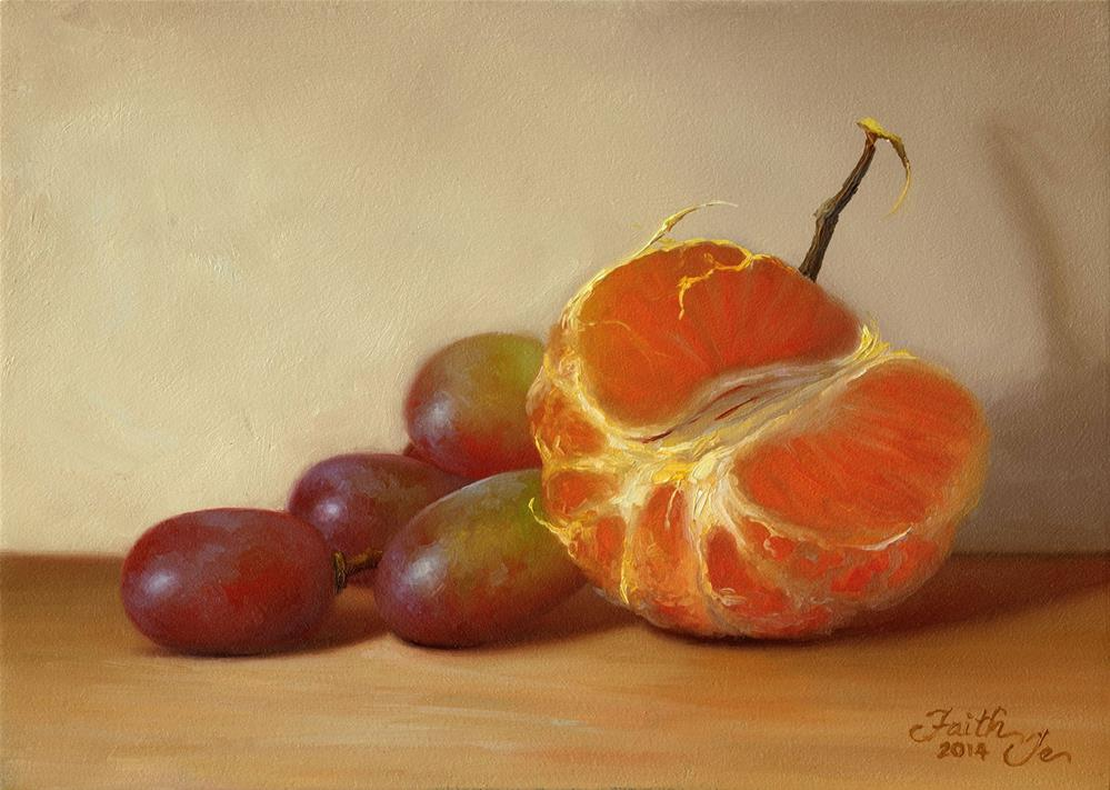 """Tangerine Half with Grapes"" original fine art by Faith Te"