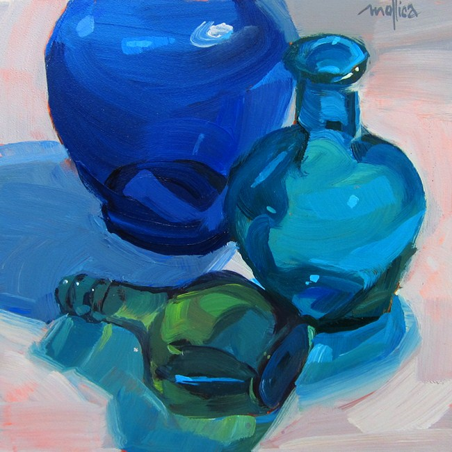 """Blue Glass Bottles"" original fine art by Patti Mollica"
