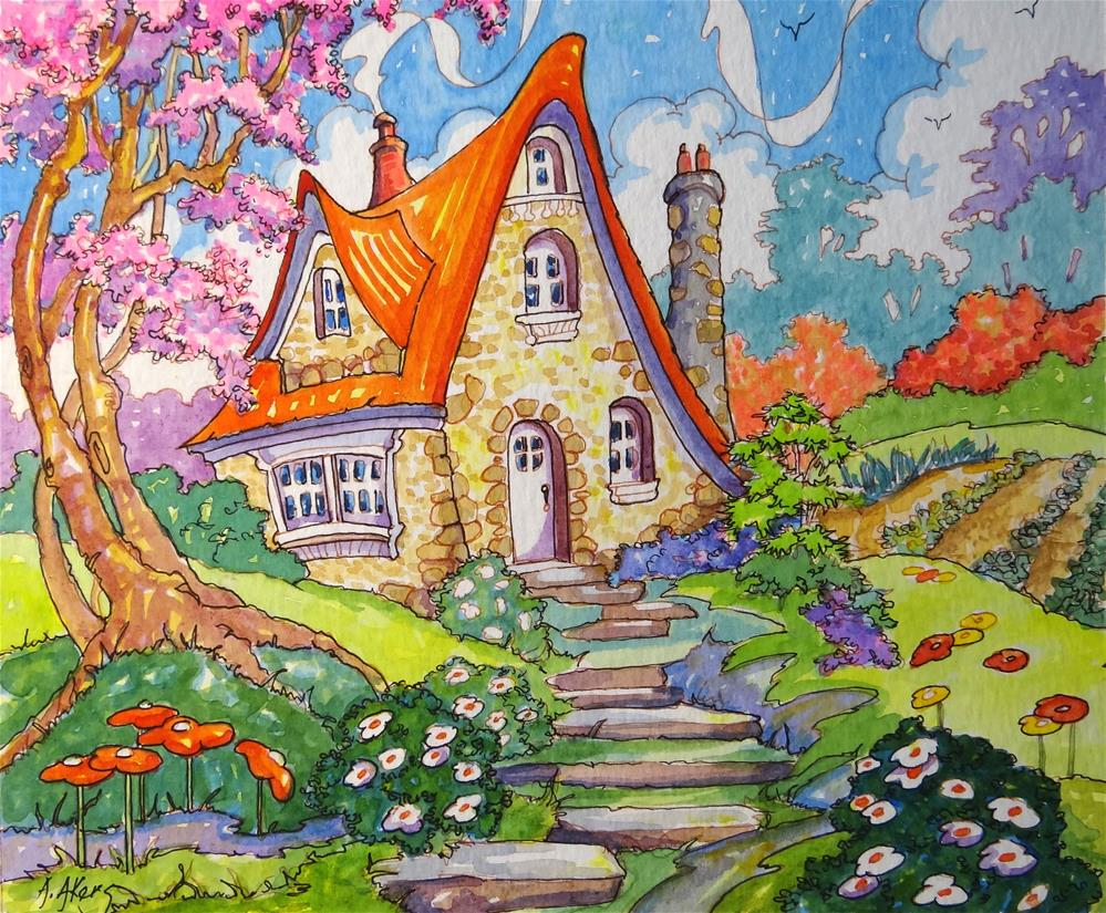 """""""A Little Cottage Spring Storybook Cottage Series"""" original fine art by Alida Akers"""
