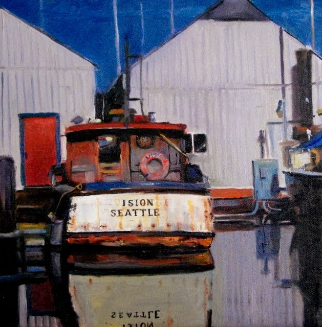 """""""The Vision  Poulsbo marina, boat painting"""" original fine art by Robin Weiss"""
