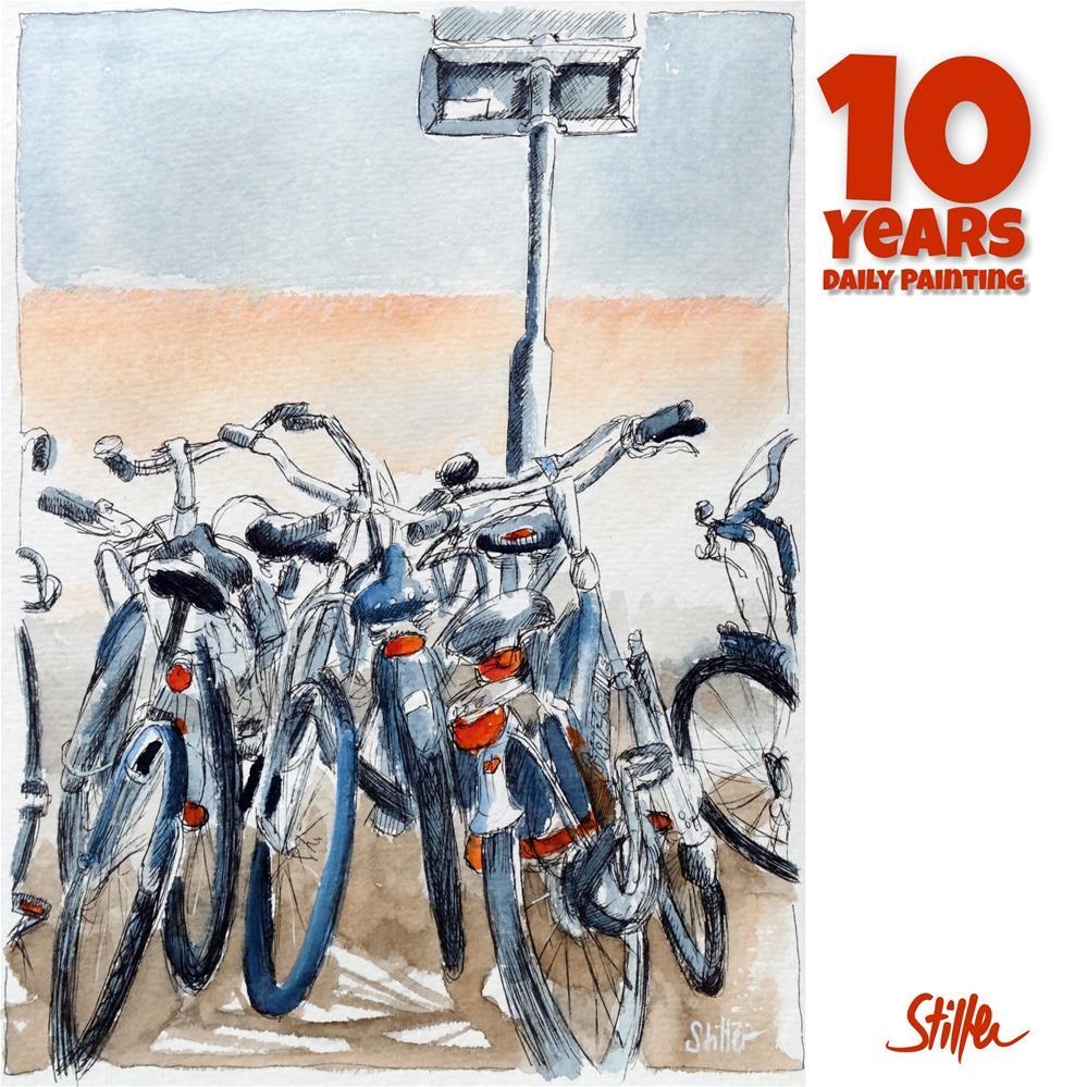 """""""3669 Bike-a-rama"""" original fine art by Dietmar Stiller"""