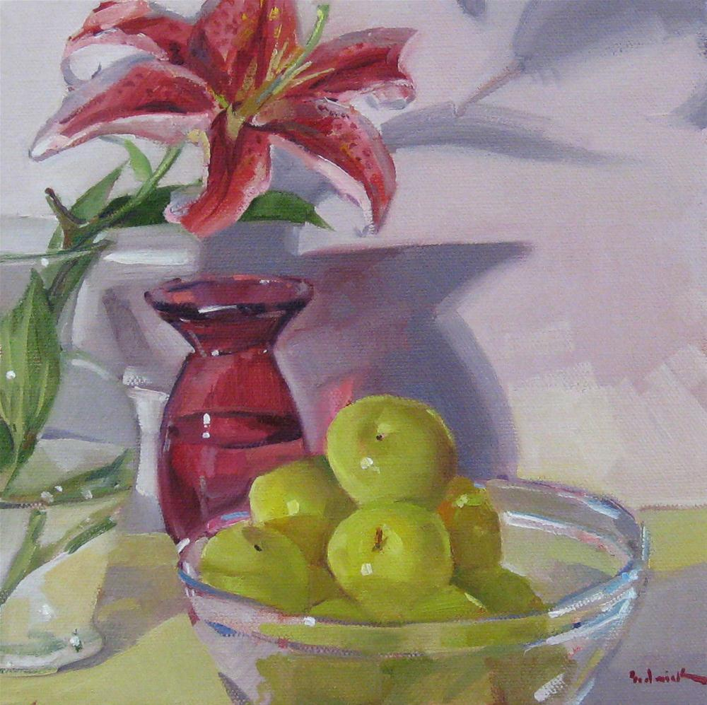 """""""Stargazer Lily and Green Plums daily painting fruit and flowers still life floral"""" original fine art by Sarah Sedwick"""