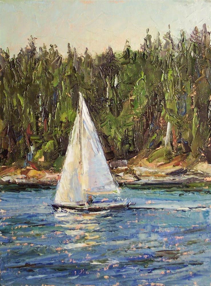 """Smooth Sail off the Islands,seascape,oil on canvas,7x5,priceNFS"" original fine art by Joy Olney"