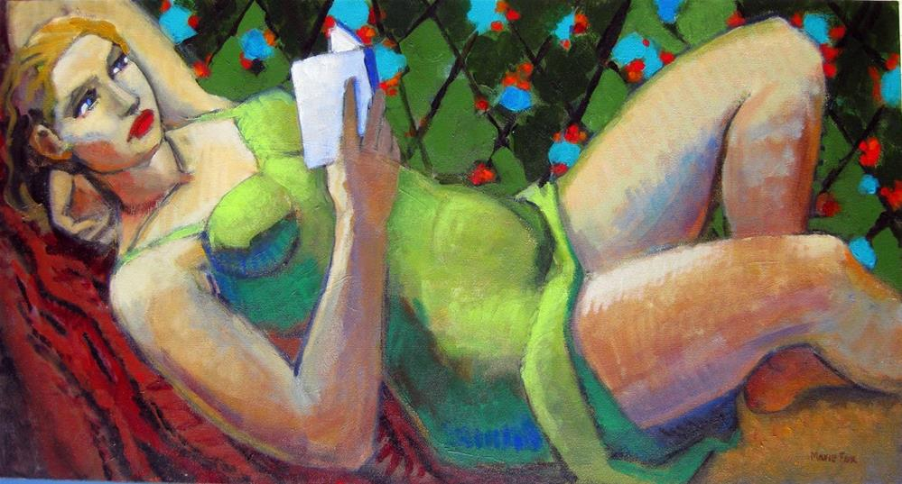 """""""Reclining Woman Reading, figurative painting, female figuration, contemporary figure painter"""" original fine art by Marie Fox"""