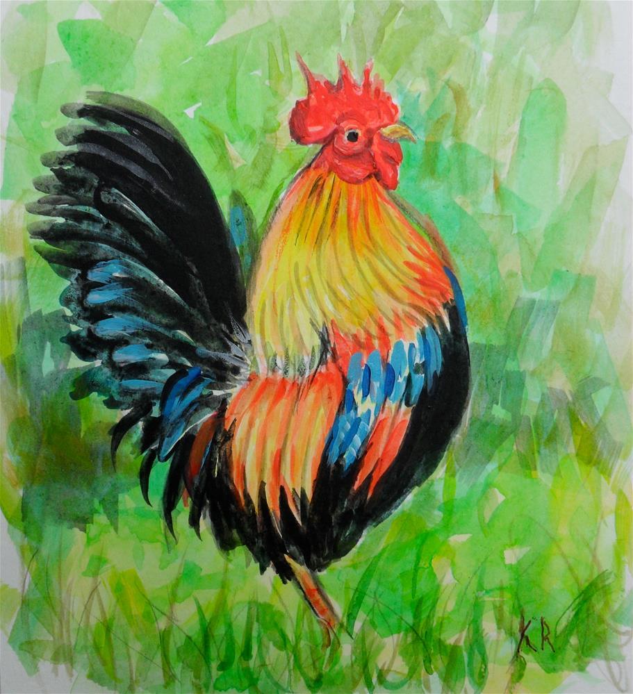 """""""Rooster"""" original fine art by Karen Roncari"""