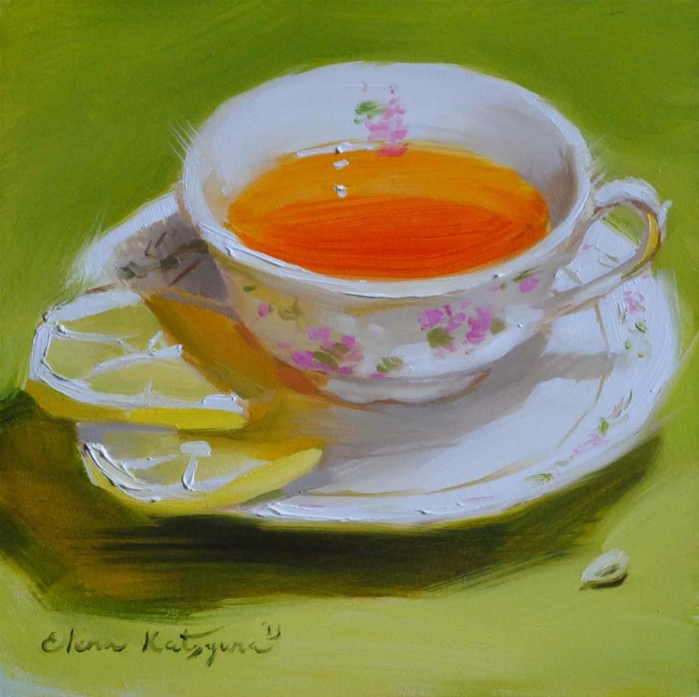"""Tea on Green"" original fine art by Elena Katsyura"