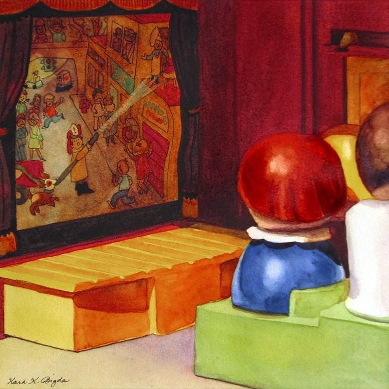 """Pass The Popcorn"" original fine art by Kara K. Bigda"