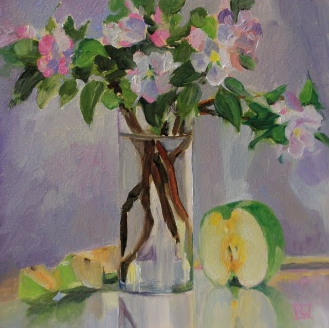 """""""Apple Blossoms and Fruit  oil still life painting"""" original fine art by Robin Weiss"""