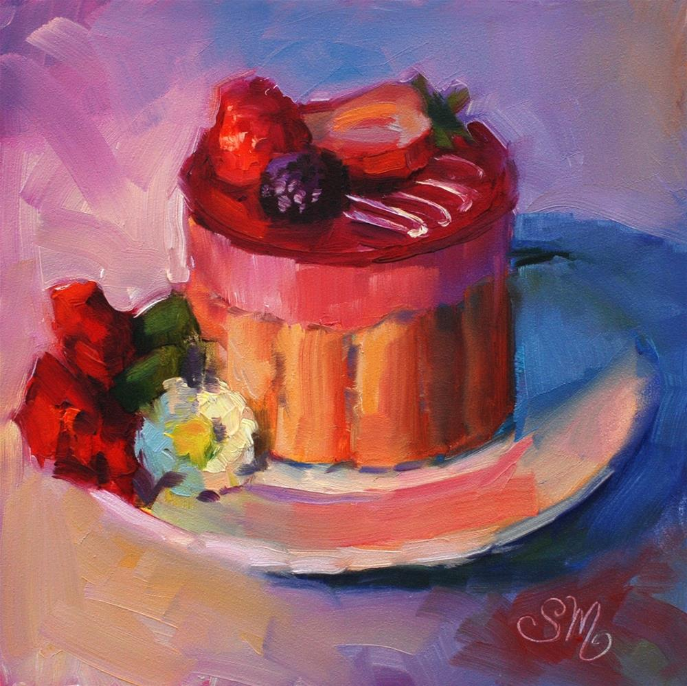 """No. 763 Raspberry Mousse French Pastry with Carnations and Mums"" original fine art by Susan McManamen"