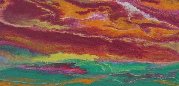 """""""Abstract Landscape,Sunset Art Painting Sky in Motion Reflected-Mini #1 by Colorado Contemporary Ar"""" original fine art by Kimberly Conrad"""