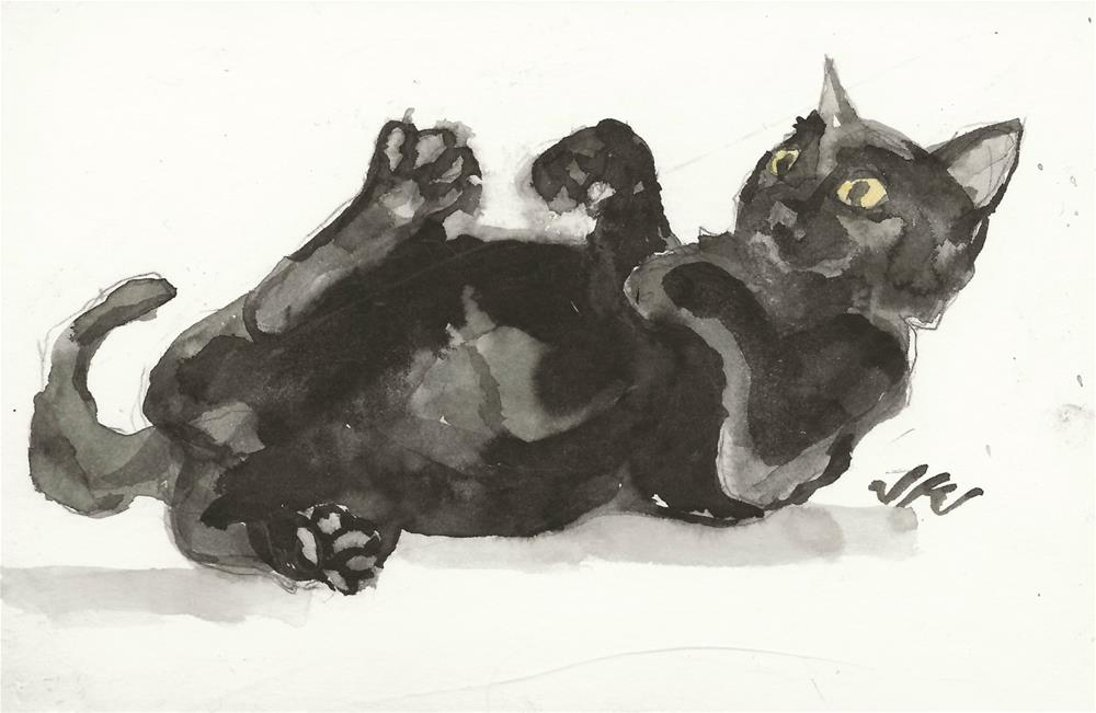 """Daily Cat 121"" original fine art by Jean Krueger"