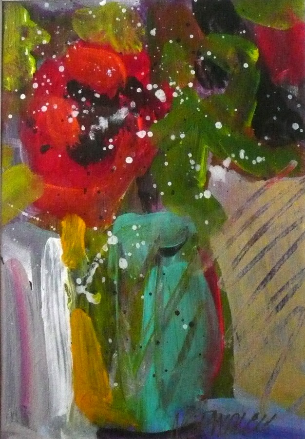 """One Red Rose Floral #1 11073"" original fine art by Nancy Standlee"
